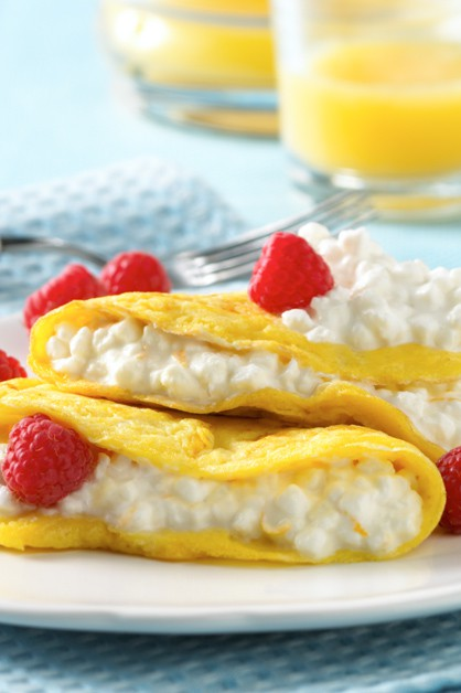open-faced fruit and cheese omelette