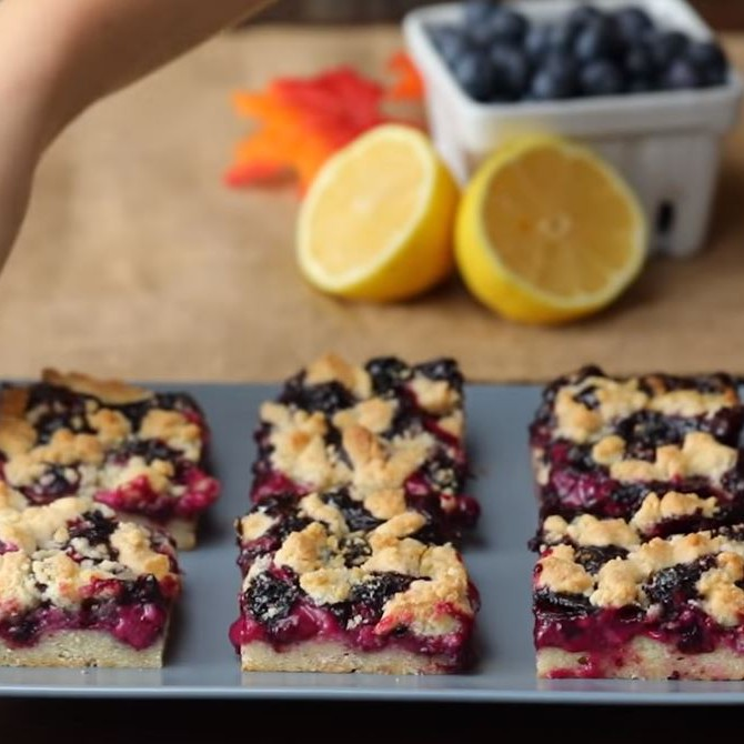 Blueberry Sour Cream Pie Bar